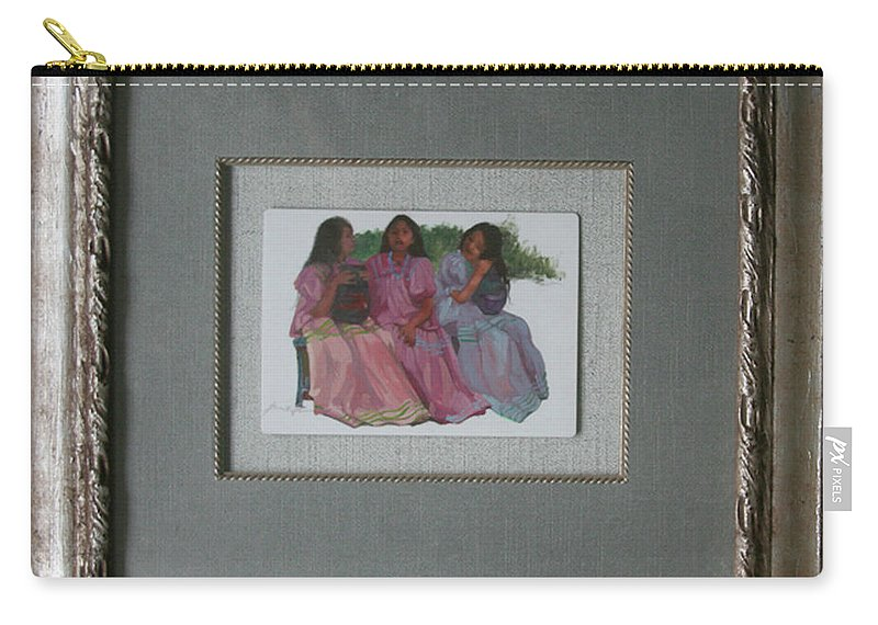 Miniatures Carry-all Pouch featuring the painting Youthful Beauties Oil On Porcelain by Betty Jean Billups