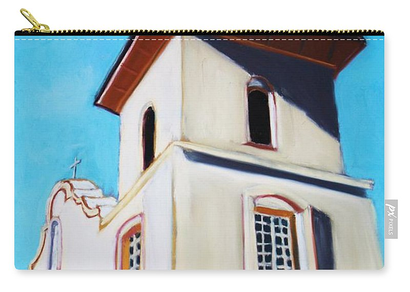 Ysleta Carry-all Pouch featuring the painting Ysleta Mission by Melinda Etzold