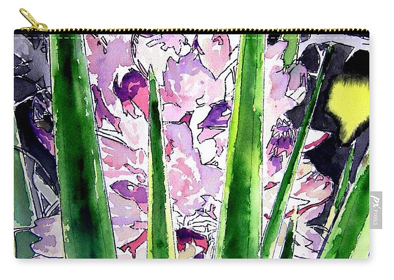 Flower Carry-all Pouch featuring the painting Yucca Flower Plant Southwestern Art by Derek Mccrea