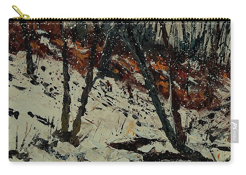 Winter Carry-all Pouch featuring the painting Ywoigne Snow by Pol Ledent