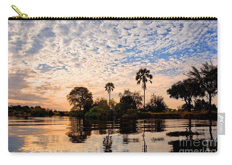 Zambezi Carry-all Pouch featuring the photograph Zambezi Sunset by Delphimages Photo Creations