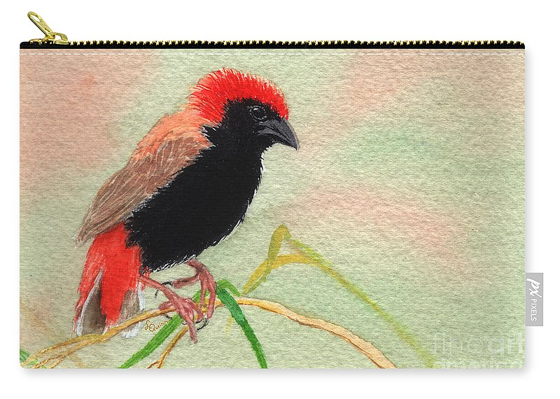 Bird Carry-all Pouch featuring the painting Zanzibar Red Bishop by Lynn Quinn