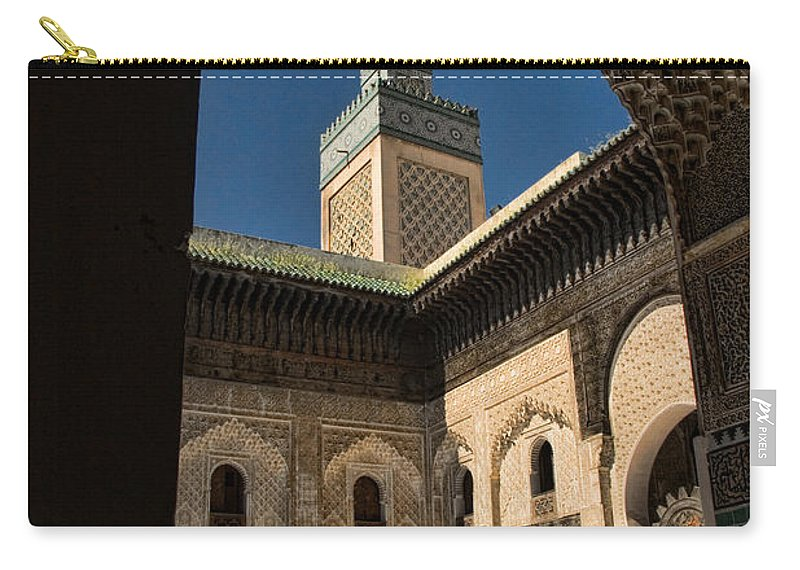 Courtyard Carry-all Pouch featuring the photograph Zaouia El Tijaniya Mosque In Fes Morroco by David Smith