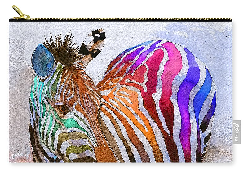 Colorful Carry-all Pouch featuring the painting Zebra Dreams by Galen Hazelhofer