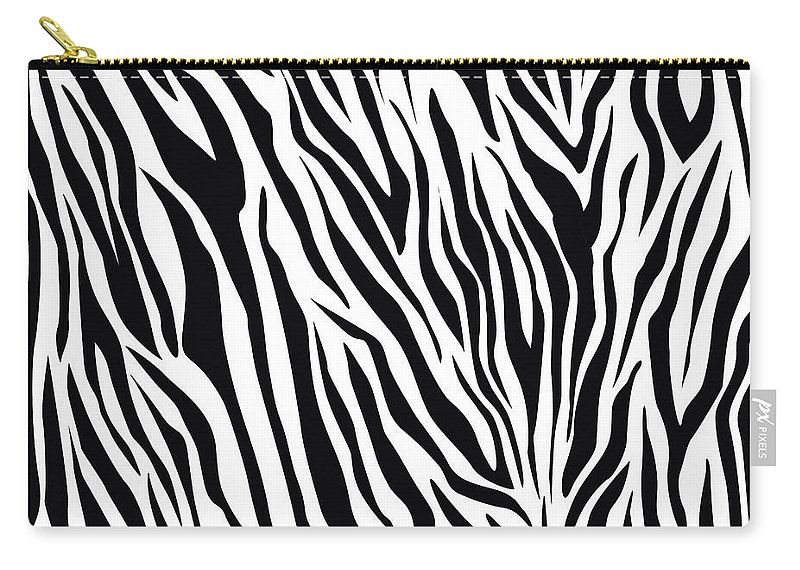 Zebra Carry-all Pouch featuring the digital art Zebra by Eyal Bank