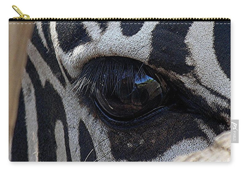 Zebra Carry-all Pouch featuring the photograph Zebra Eye by Diane Greco-Lesser