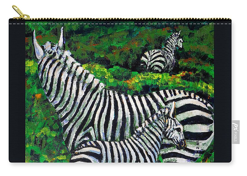 Nature Carry-all Pouch featuring the painting Zebra Family by Shirley Heyn