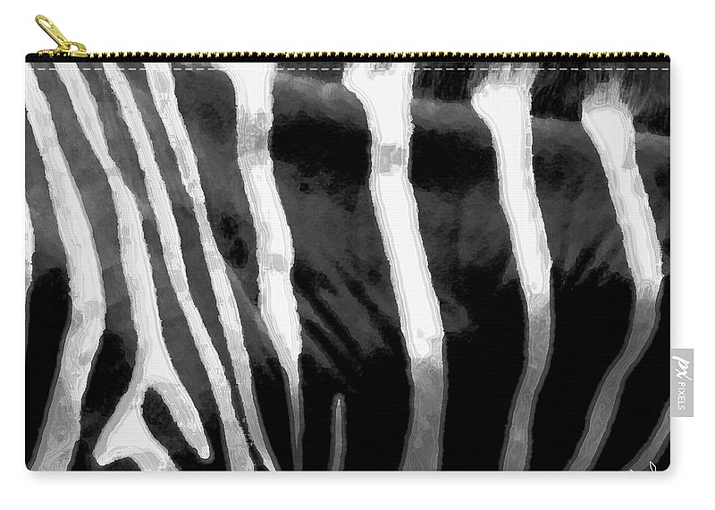 Zebra Art Carry-all Pouch featuring the photograph Zebra Lines by Linda Sannuti