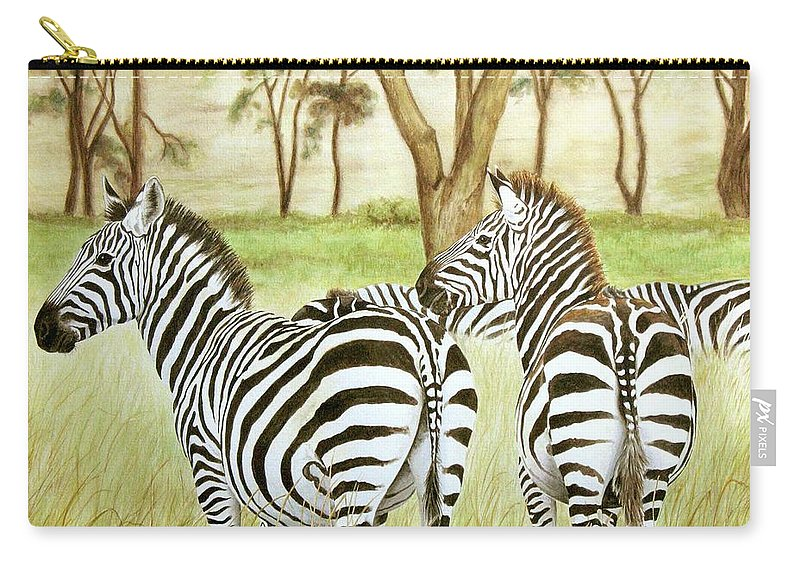 Zebras Carry-all Pouch featuring the painting Zebra Pals by Elaine Booth-Kallweit