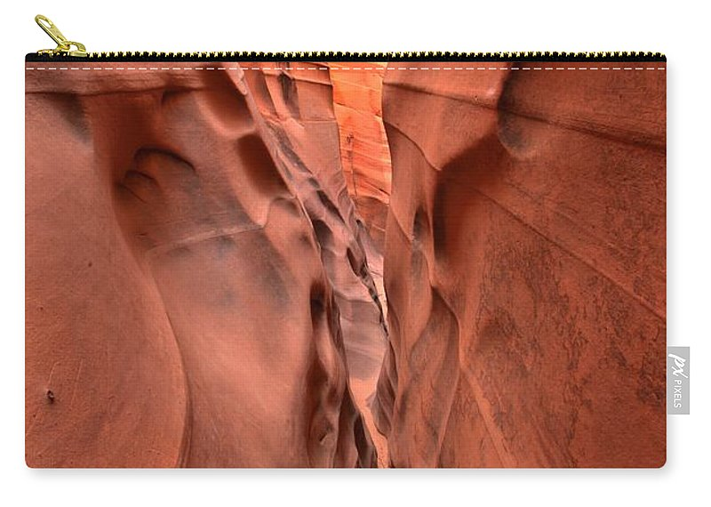 Zebra Slot Canyon Carry-all Pouch featuring the photograph Zebra Slot Canyon Glow by Adam Jewell