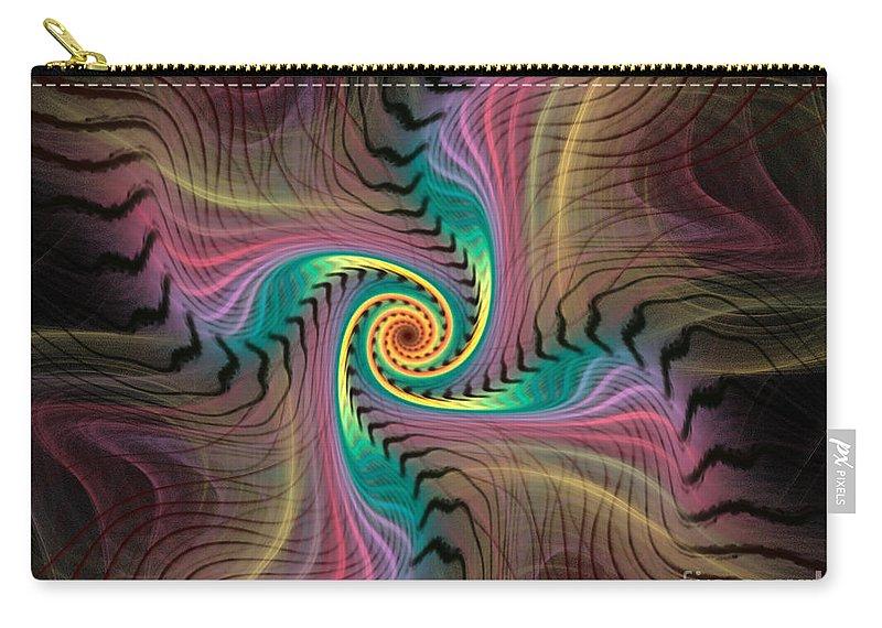 Spiral Carry-all Pouch featuring the digital art Zebra Spiral Affect by Deborah Benoit