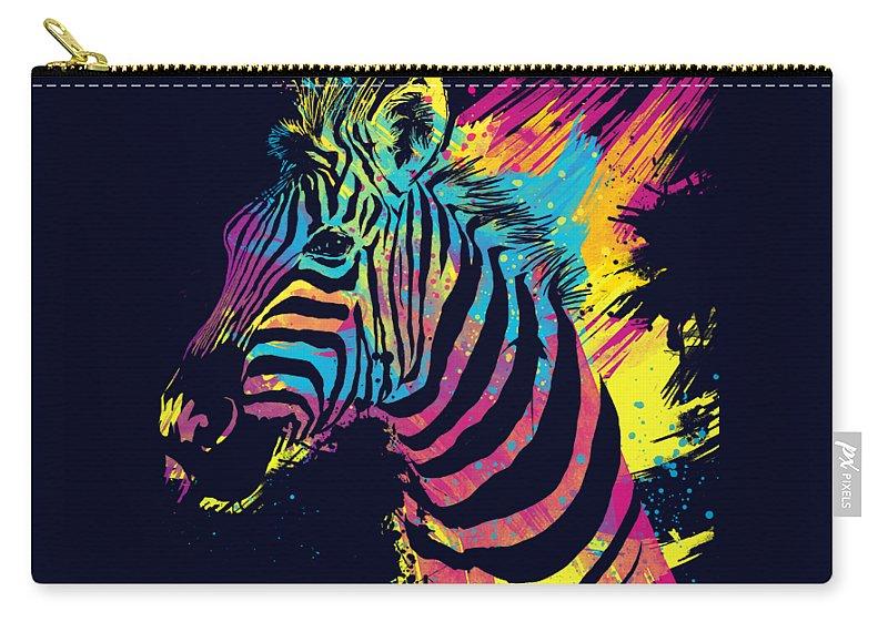 Zebra Carry-all Pouch featuring the digital art Zebra Splatters by Olga Shvartsur