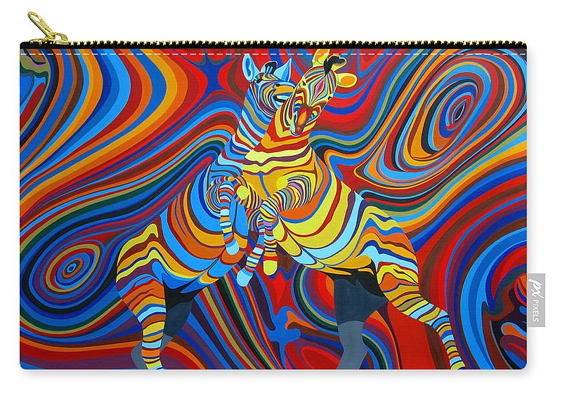 Zebra Carry-all Pouch featuring the painting Zebradelic by Pascal Etienne Roy