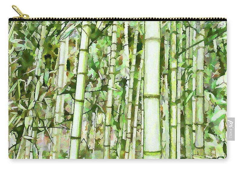 Zen Bamboo Forest Carry-all Pouch featuring the painting Zen Bamboo Forest by Jeelan Clark