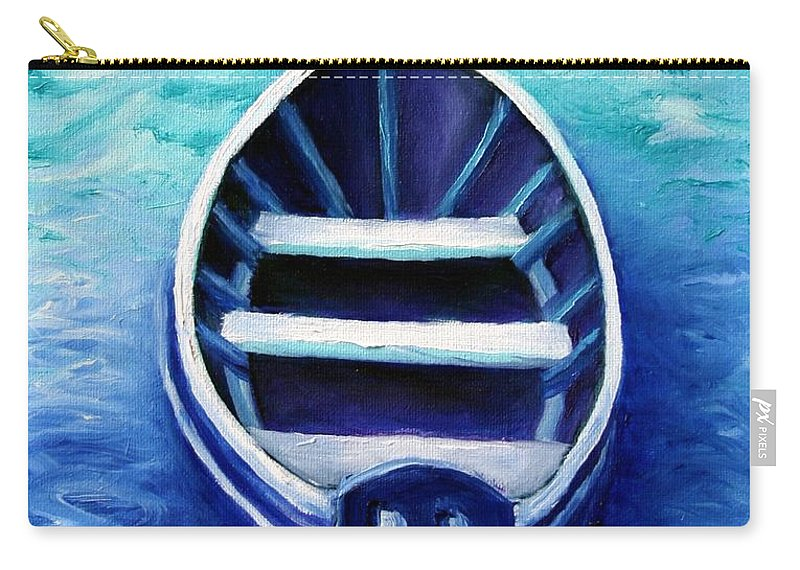 Boat Carry-all Pouch featuring the painting Zen Boat by Minaz Jantz