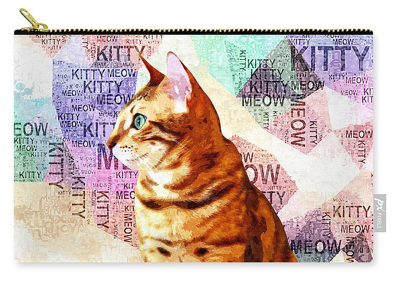 Cat Carry-all Pouch featuring the mixed media Zen Cat by Stacey Chiew