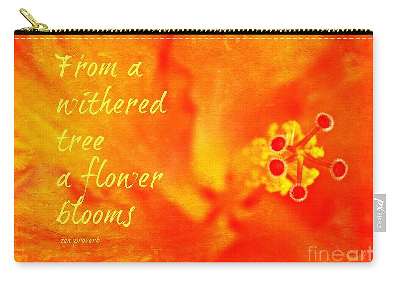 Zen Proverb Carry-all Pouch featuring the photograph Zen Proverb 3 by Clare Bevan