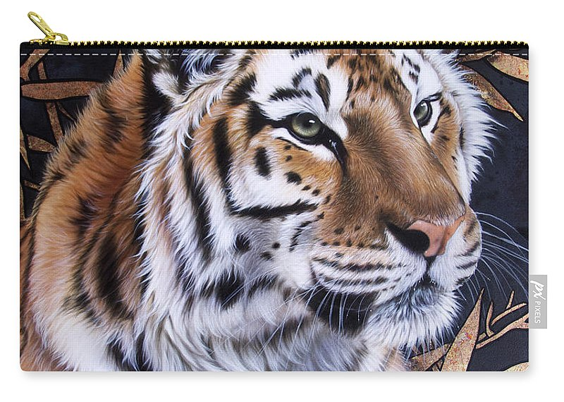 Tiger Carry-all Pouch featuring the painting Zen Too by Sandi Baker