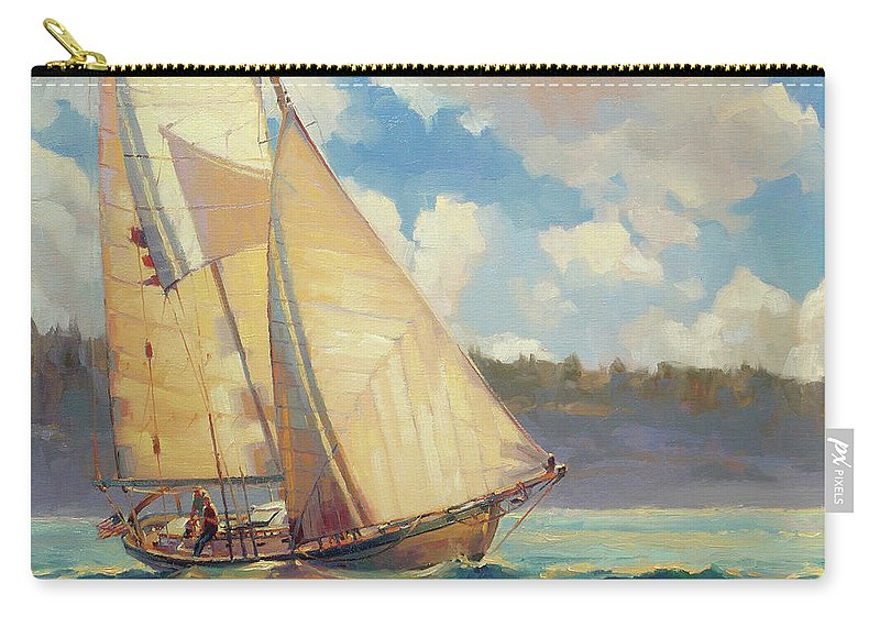 Sailboat Carry-all Pouch featuring the painting Zephyr by Steve Henderson