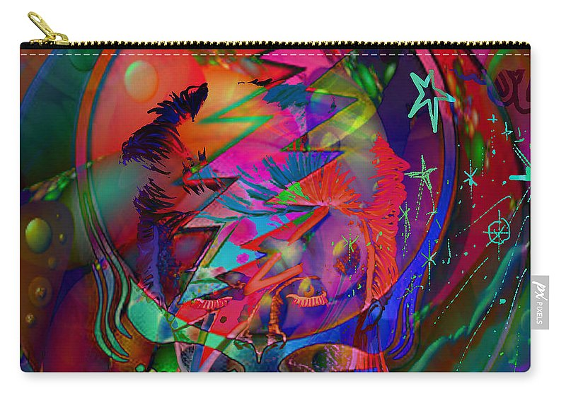 David Bowie Carry-all Pouch featuring the painting Ziggy by Kevin Caudill