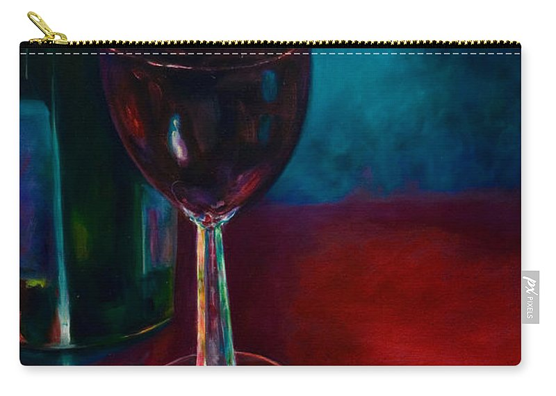 Wine Bottle Carry-all Pouch featuring the painting Zinfandel by Shannon Grissom
