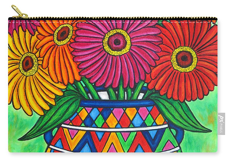 Zinnia Carry-all Pouch featuring the painting Zinnia Fiesta by Lisa Lorenz