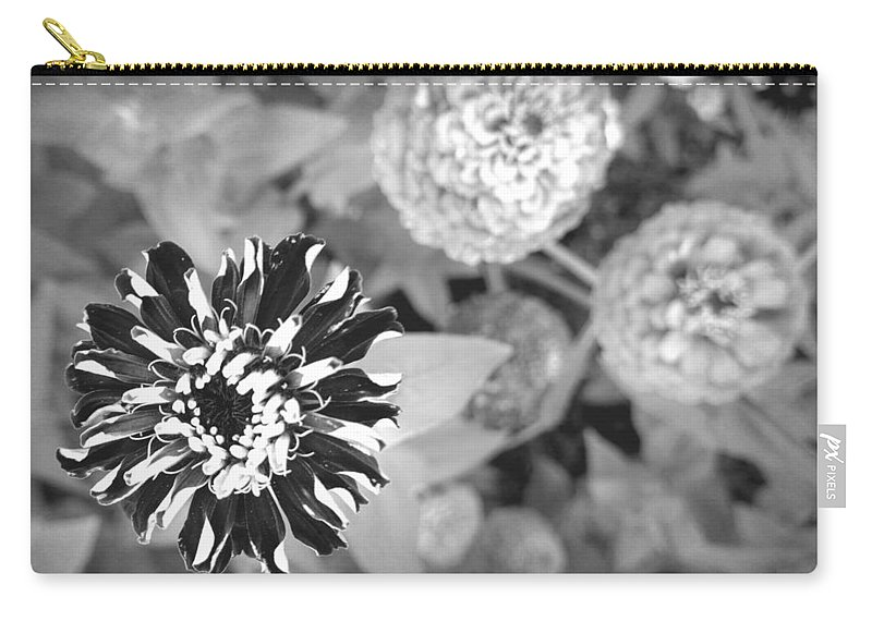 Black And White Carry-all Pouch featuring the photograph Zinnia In Black And White by Lois Braun