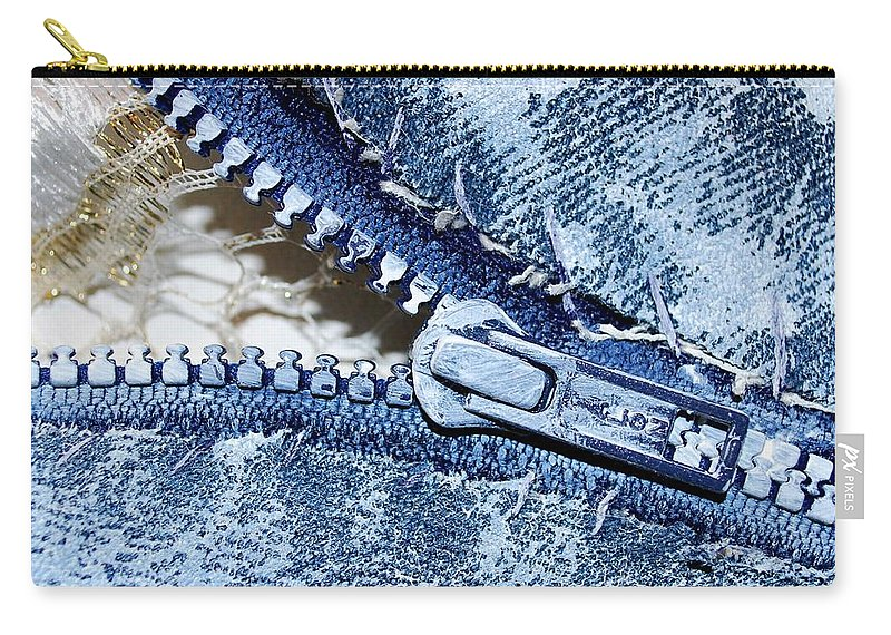 Painting Carry-all Pouch featuring the painting Zipper In Blue by Nancy Mueller