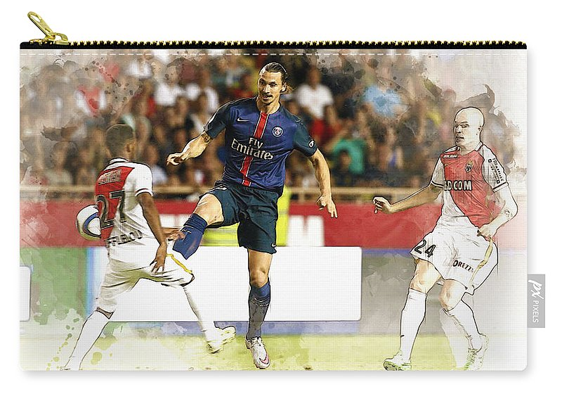 Uefa Chamipons League Carry-all Pouch featuring the digital art Zlatan Ibrahimovic In Action by Don Kuing