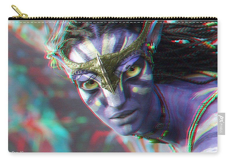 3d Carry-all Pouch featuring the photograph Zoe Saldana - Neytiri - Use Red And Cyan 3d Glasses by Brian Wallace