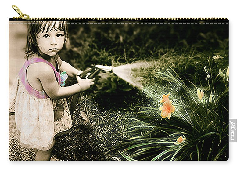Children Carry-all Pouch featuring the photograph Zoe Waters The Flowers by Karen W Meyer