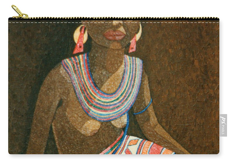 Zulu Woman Carry-all Pouch featuring the painting Zulu Woman With Beads by Madalena Lobao-Tello