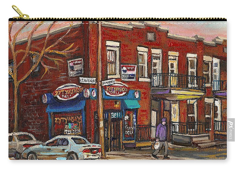 Deli Carry-all Pouch featuring the painting Zytynsky's Deli Rosemont Montreal by Carole Spandau