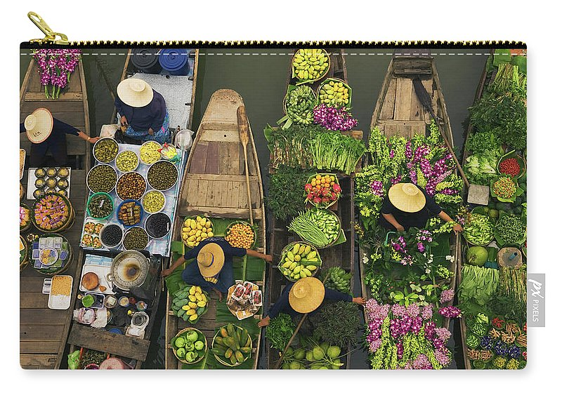 People Carry-all Pouch featuring the photograph A Floating Market On A Canal In by Mint Images - Art Wolfe