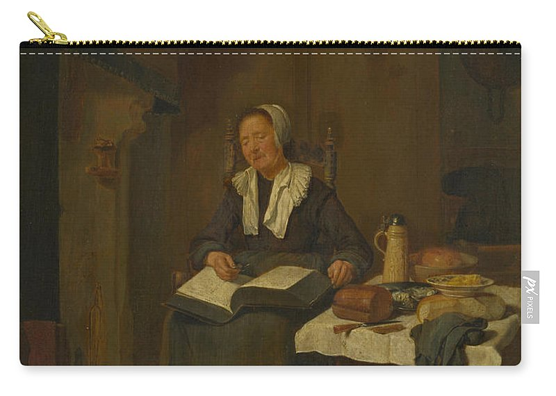 Quiringh Van Brekelenkam Carry-all Pouch featuring the painting A Woman Asleep By A Fire by Quiringh van Brekelenkam