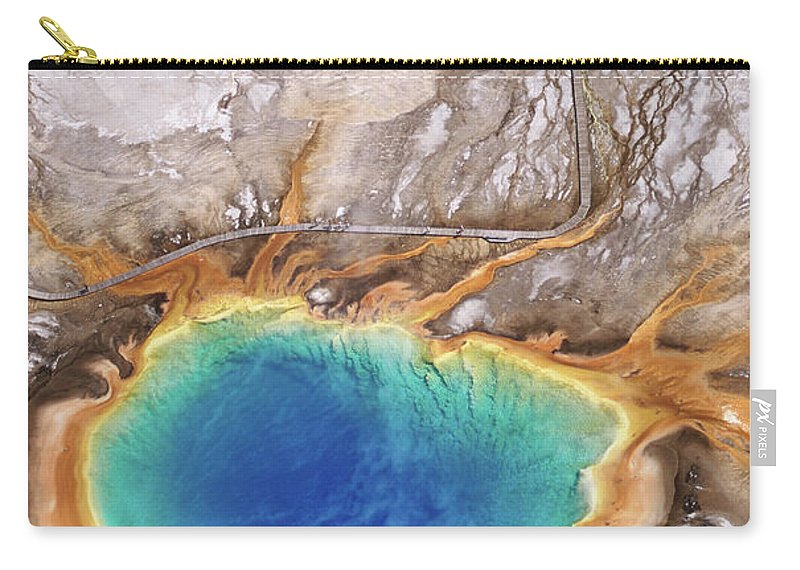 Geyser Carry-all Pouch featuring the photograph Aerial View Of Grand Prismatic Spring by Holger Leue