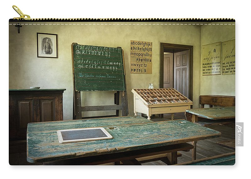 Ancient Carry-all Pouch featuring the photograph An Old Classroom With Blackboard And Boards With Old Script by Stefan Rotter