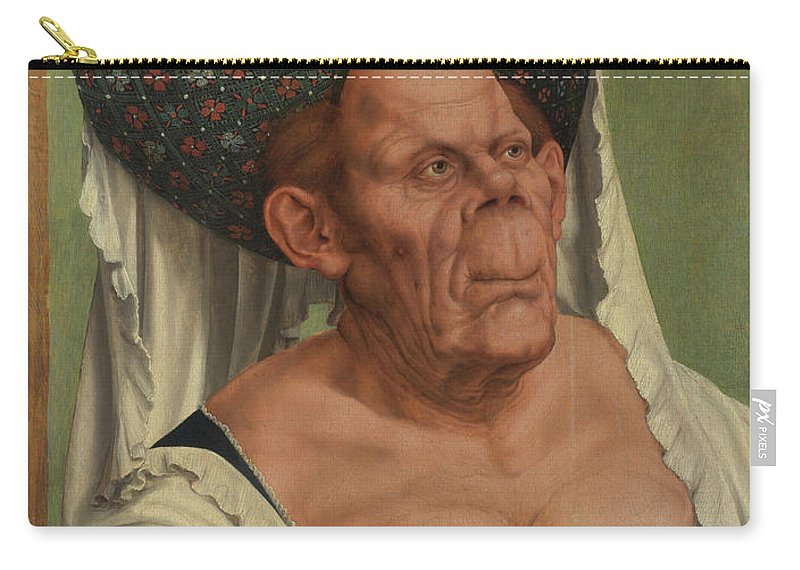 Quinten Massys Carry-all Pouch featuring the painting An Old Woman The Ugly Duchess  by Quinten Massys