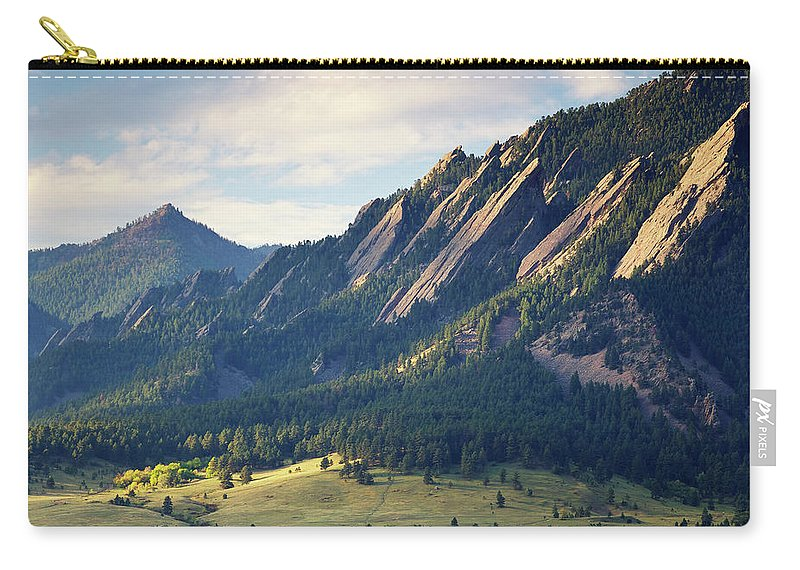 Scenics Carry-all Pouch featuring the photograph Boulder Colorado Flatirons In Fall by Beklaus