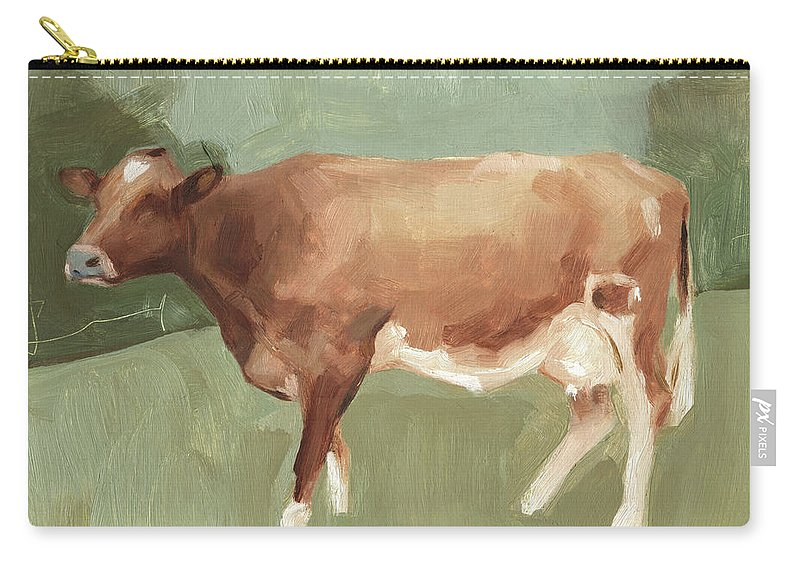 Animals Carry-all Pouch featuring the painting Bovine Field I by Emma Scarvey