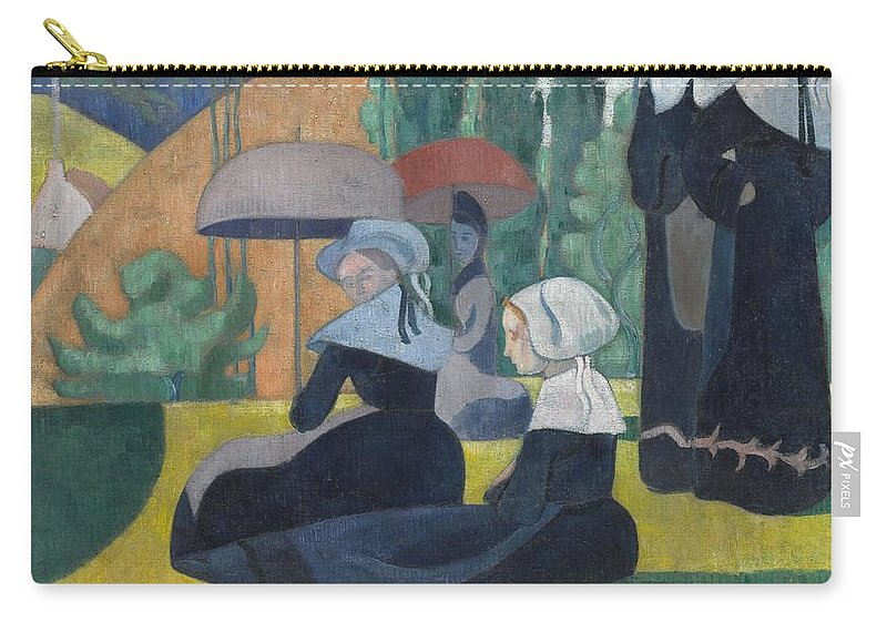 Emile Bernard Carry-all Pouch featuring the painting Breton Women With Umbrellas by Emile Bernard