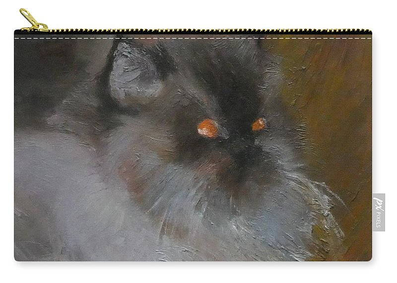 Animal Carry-all Pouch featuring the painting Cat With Orange Eyes 1 by Irena Jablonski