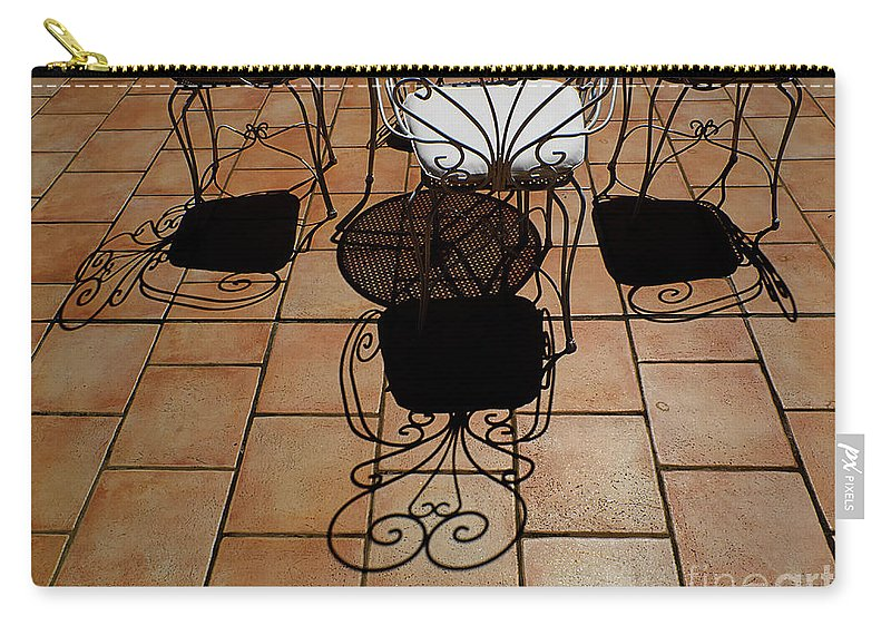 Chairs Carry-all Pouch featuring the photograph Chairs And Shadows by Mike Nellums