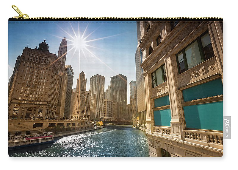 Downtown District Carry-all Pouch featuring the photograph Chicago Cityscape And River by Pgiam