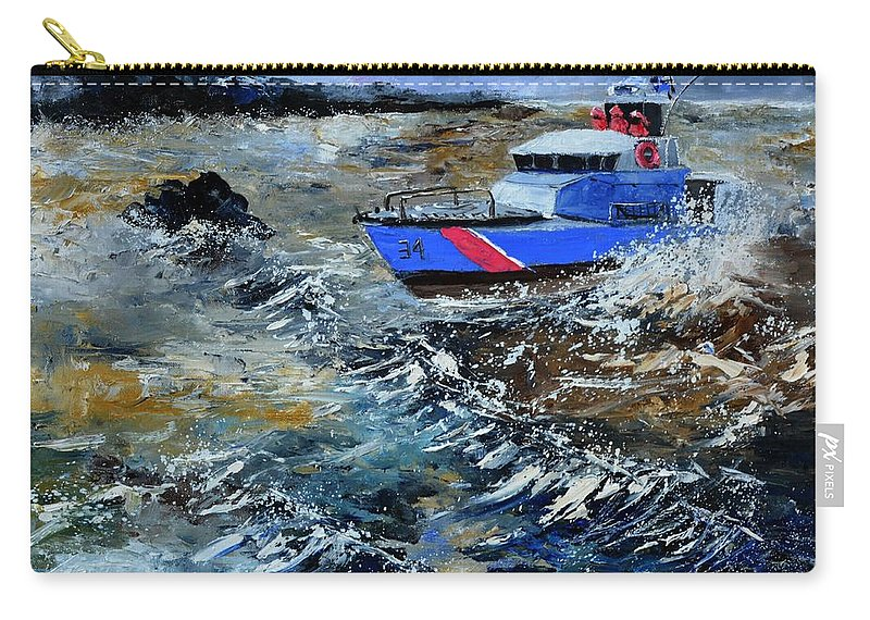 Seascape Carry-all Pouch featuring the painting Coastguards 1 by Pol Ledent