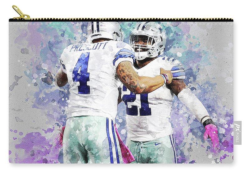 Dallas Cowboys Carry-all Pouch featuring the digital art Dallas Cowboys. by Nadezhda Zhuravleva