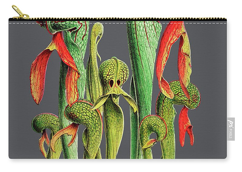 Vintage Carry-all Pouch featuring the digital art Darlingtonia Californica by Baptiste Posters