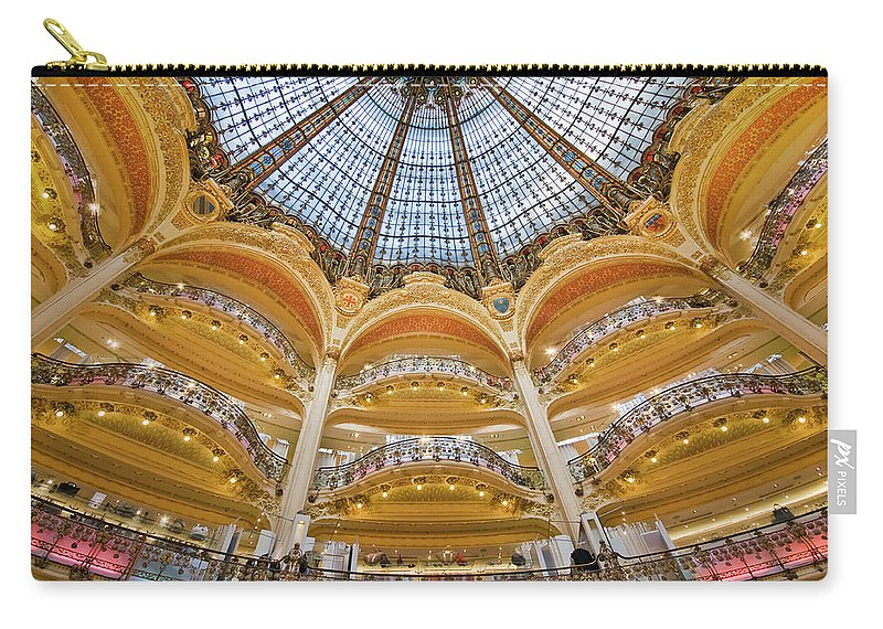 Ile-de-france Carry-all Pouch featuring the photograph Dome And Balconies Of Galeries by Izzet Keribar