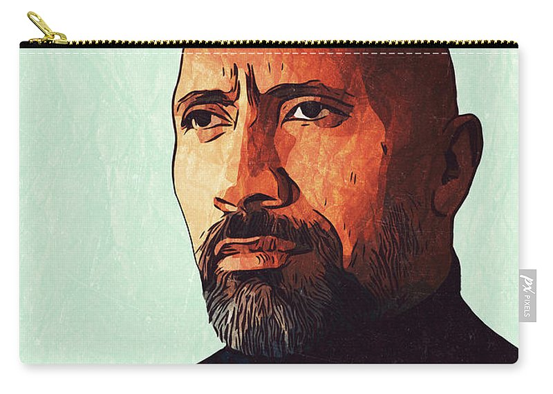 Dwayne Johnson Carry-all Pouch featuring the digital art Dwayne Johnson Artwork by Taoteching Art