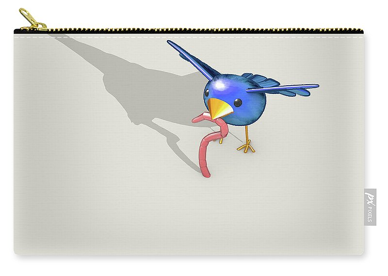 The Early Bird Gets The Worm Carry-all Pouch featuring the digital art Early Bird Catches The Worm by Allan Swart